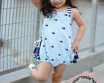 New Release~ Summer Nautical ruffled bottom whale romper infant toddler girls sizes 0-3 mos up to girls size 3t