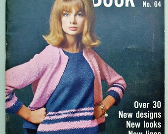Vogue Knitting Book No 64 1964 UK - vintage 1960s knitting patterns women's jackets cardigans jumpers sweaters dresses 60s original patterns