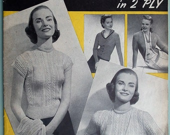 Vintage 1940s Knitting Patterns Book Booklet - Twin Sets in 2 Ply Weldon's 288 UK - Women's Sweaters Jumpers Cardigans 40s original patterns