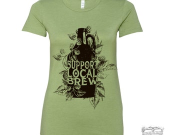 Womens Local BREW T Shirt -hand screen printed s m l xl xxl (+ Colors)