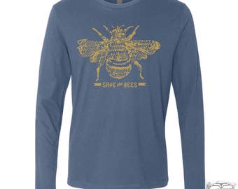 Mens Long Sleeve SAVE The BEES T Shirt s m l xl xxl (+ Color Options)