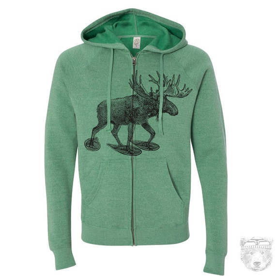 Unisex MOOSE (in Snow Shoes) Fleece Zippered Hoody s m l xl xxl  (+ Colors) Hand Screen Printed