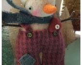Felted Snowman Valentine Ornie Doll  Frankie