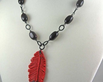 Cardinal feather necklace, red black polymer clay pendant on beaded matte black chain