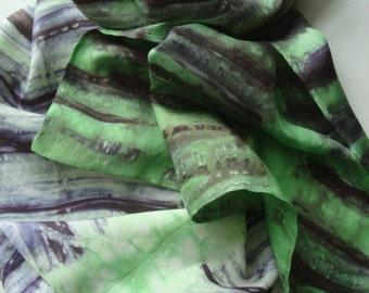 Hand dyed Habotai Silk scarf.