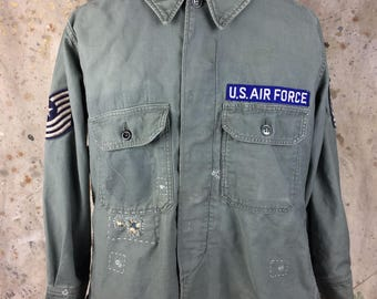 US Air Force Vintage Sateen Utility Shirt-Heavily Mended
