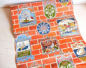 British Pub Signs Wallpaper Roll | Vintage Wallpaper | England Tavern Wallpaper