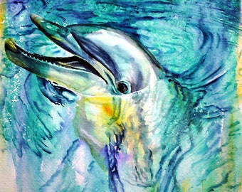 dolphin watercolor print dolphin art giclee print dolphin painting dolphin print