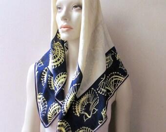 vintage anne klein vera silk scarf seashell nautical fashion 1960 navy and cream