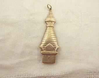 Antique Nepalese Silver Plated Brass Prayer Box Pendant