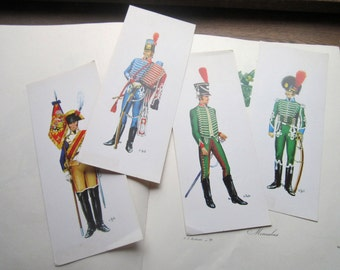 4 Large Vintage 1970's  Prints * Military Officers * 1800's rep. War Reenactment * Country Specific * Vintage Soldier, Europe, 4 x 9.5 Size