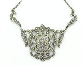 Art Deco Sterling silver Marcasite necklace Unique English Antique 1920's vintage Wedding Bridal jewellery Gatsby style