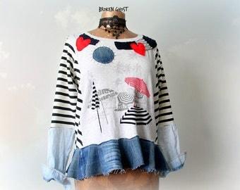 Nautical Shirt Upcycled Clothing Striped Sweatshirt Women Art Sweater Funky Top Sustainable Fashion Denim Boho Tunic Applique Top S M 'DINAH