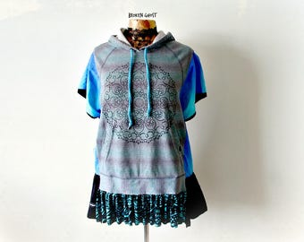 Mandala Yoga Jacket Blue Boho Hoodie Clothing Upcycled Womens Eco Wear Painted Top Oversize Sweatshirt Music Festival Art Clothes M L 'DARBY