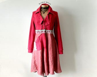 Red Artsy Coat Women's Boho Jacket Upcycled Clothing Lagenlook Coat Gypsy Clothes Bohemian Blazer Art To Wear Hippie Chic Coat S M 'BRONWYN'