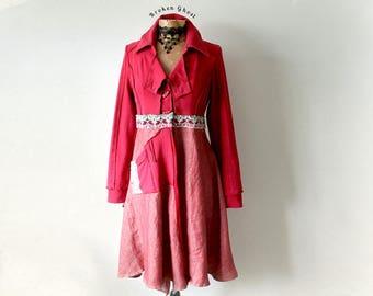 Red Artsy Coat Women's Boho Jacket Upcycled Clothing Lagenlook Coat Gypsy Clothes Bohemian Blazer Art To Wear Hippie Chic Coat S M 'BRONWYN'