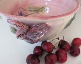Handmade Iris Pottery Bowl By Lark Roderigues