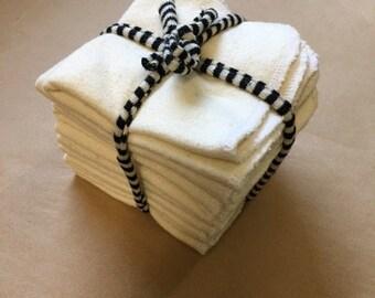 "8""x8"" Organic Baby Wipes/Pack of 10/Hemp and Organic cotton"