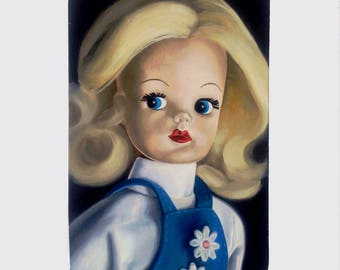 Sindy Doll Oil Painting on wood panel Lowbrow Pop Art big eyes art