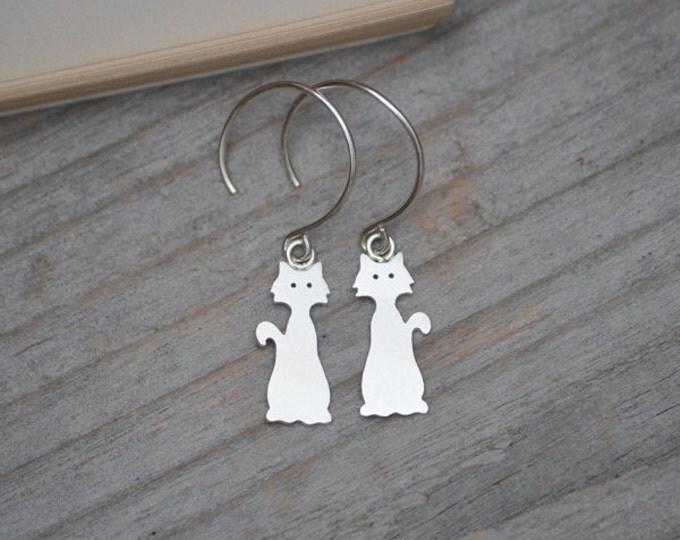 Cat Earrings In Sterling Silver, Kitten Dangle Earrings Handmade In The UK