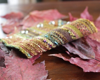 "Handwoven Cuff (for a 6 1/2"" wrist), Woven Fabric Bracelet in Bronze and Gold"