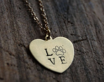 LOVE Paw Print Heart Shaped Pendant Necklace. Dog Lover Hand Stamped Paw Print Necklace.