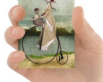 Penny Farthing ACEO Card - Girl Riding Penny Farthing Art - Chihuahua Art - Artist Trading Card - A Penny For Your Thoughts