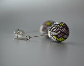 OOAK Statement earrings lilac green , big sphere silver post dangle earrings