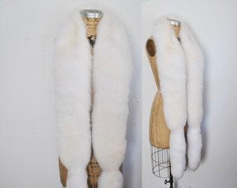 White Genuine Fox Fur Scarf BOA Stole / wedding bridal