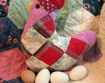 Chicken Hen Pillow, Primitive Farmhouse Hen Tuck, Rustic Country Decor, Repurposed Vintage Quilt Block, Handmade by Me, One of a Kind