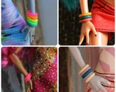 10 Rubber Bangle Bracelets for Slimline Petite High dolls  Pick from 55 colors 5 New Colors Available