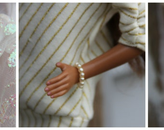 Tiny Pearl Doll Bracelet Jewelry fits 1/6th Scale 11 1/2 - 12 inch Fashion Dolls  6 Color Choices White Off White Pink Purple Blue Green