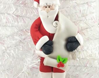 Personalized Santa Ornament - Santa with List Ornament - Nice List - Naughty List - Santa Collectible - Santa Gift for Him - 11714