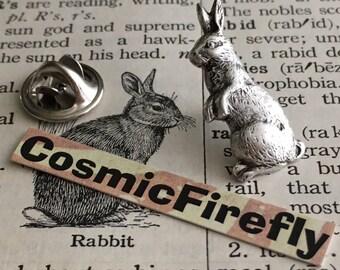 Rabbit Tie Tack Pin Antiqued Silver Bunny Tie Tack Rabbit Pin Bunny Pin