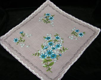 "Vintage 50's 13.5"" Scallop ""Something Blue""  Gerbera Daisy Floral Wedding Favor, Banner, Pocket Square Handkerchief - 9830"