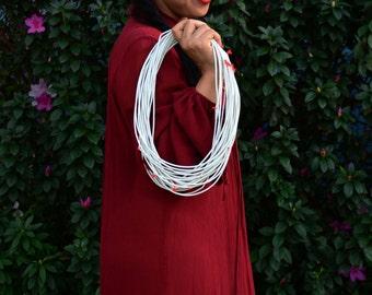 "3mm Bright White African Vinyl Record Beads, 34"" strand / Vinyl Beads, African Trade Beads, African Vinyl Discs, Heishi, Tribal Bead, Supply"