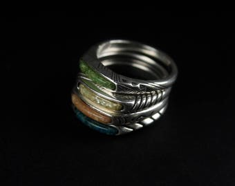 vintage sterling ring stack 4 pc collection engraved silver stacking stackable bands boho gypsy hippie 1970s