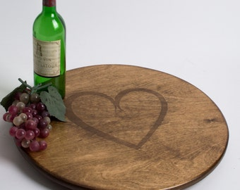 Simple Heart Engraved Lazy Susan