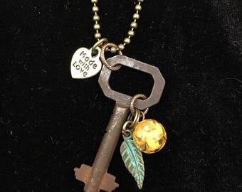 Genuine Antique Key Charm Necklace #29