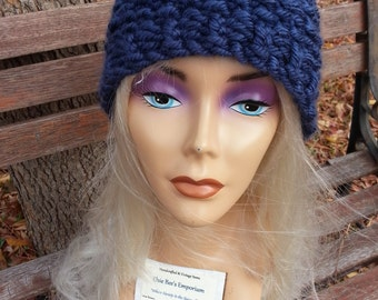 Navy Blue Beanie Reversible - Colon Cancer Awareness - OOAK MWL from an EtsyMom