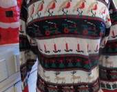 Vintage Ugly Christmas Sweater - Christmas Designs All In A Row - Sz S - Same Day Ship - Ugly Sweater Christmas Party - Acrylic Pullover