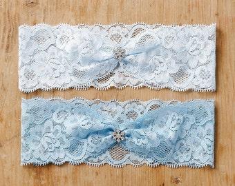 Something blue wedding garter, snowflake lace garter, winter wedding - style #474