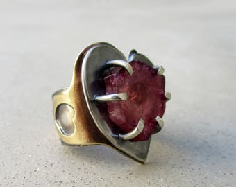 Aphrodisiac Ring with Watermelon Tourmaline, Heart Shape, Adjustable, Love and Spirituality, Romance, Heart Chakra, Metalsmithed