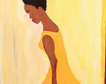 black woman art, black girl painting,yellow dresss afrikaans art,African American art,black woman painting,sharahschoices.hadassahschoicess