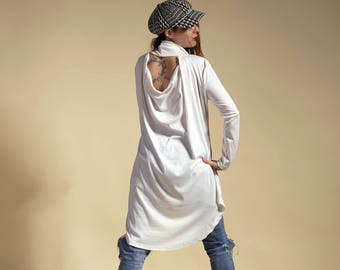 White tunic, tunic naked back, unstructured tunic