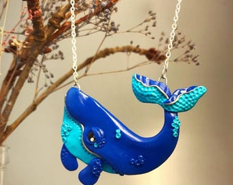 Blue Humpback Whale Necklace