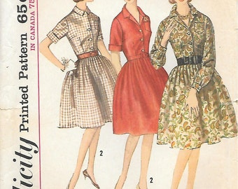 Simplicity 5040 1960s Proportioned Size Shirtwaist Dress with Full Skirt Vintage Sewing Pattern Bust 38 or 38