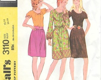 McCalls 3110 1970s Quick and Easy Peasant Dress or Blouse Vintage Sewing Pattern Size 12-14 Bust 34-36 Boho