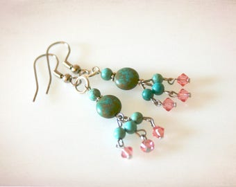 Boho Dangle Earrings in Turquoise and Pink. Turquoise Magnesite & Swarovski Crystal. Natural Gemstone Bohemian Earrings.