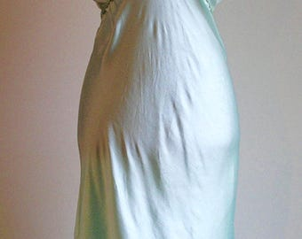 Vintage Teal Long Lace Nightgown with cap ruffled sleeves